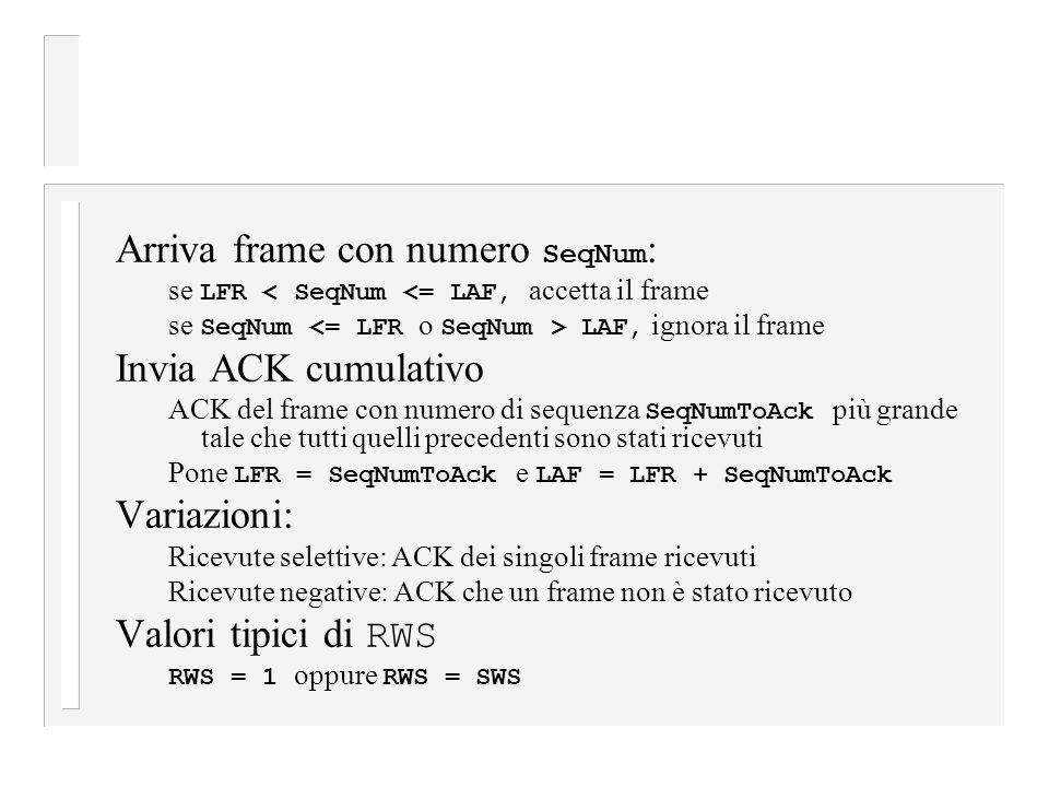 Arriva frame con numero SeqNum: Invia ACK cumulativo