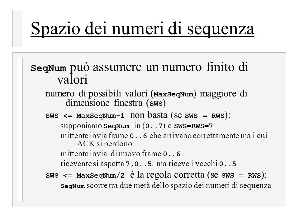 Spazio dei numeri di sequenza
