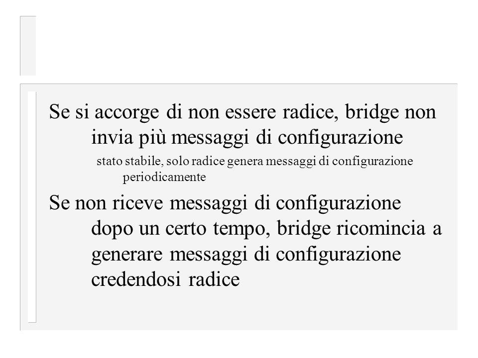 Se si accorge di non essere radice, bridge non invia più messaggi di configurazione
