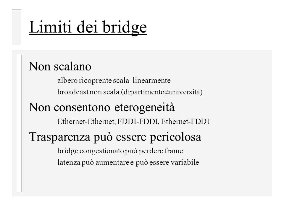 Limiti dei bridge Non scalano Non consentono eterogeneità