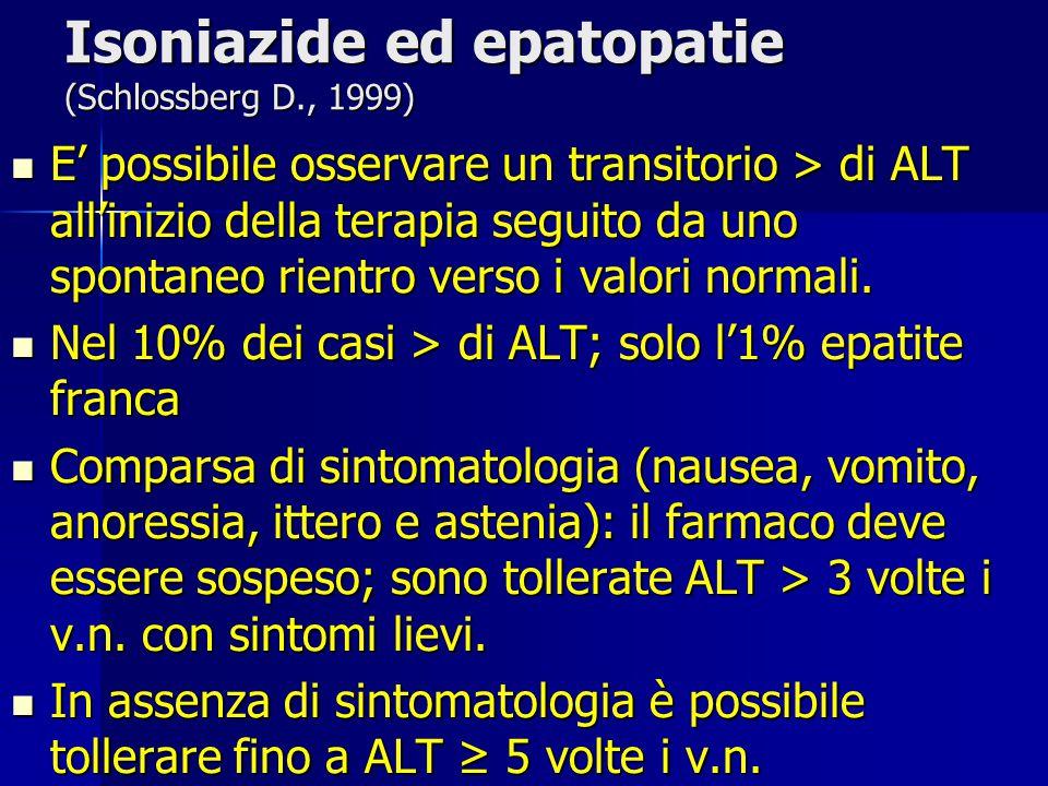 Isoniazide ed epatopatie (Schlossberg D., 1999)