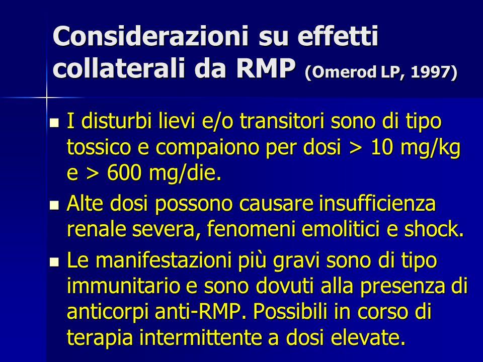 Considerazioni su effetti collaterali da RMP (Omerod LP, 1997)