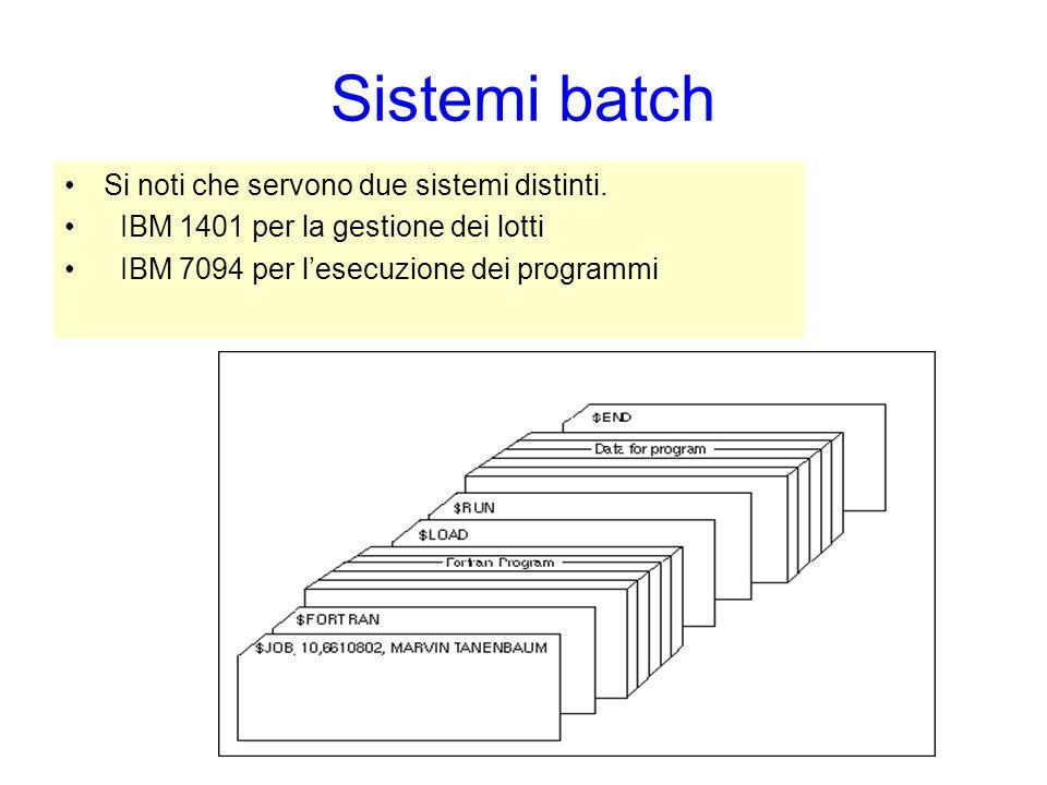 Sistemi batch Si noti che servono due sistemi distinti.
