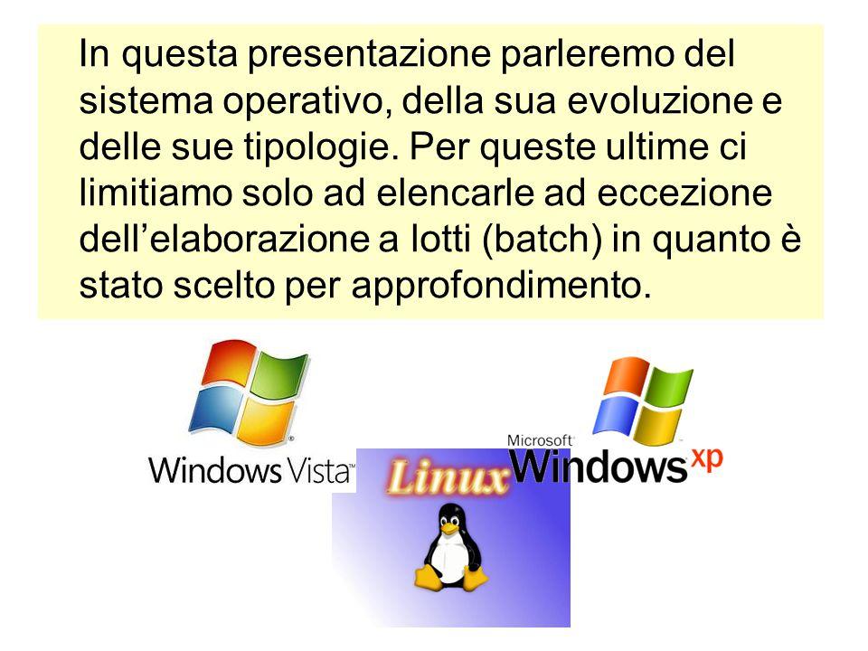 In questa presentazione parleremo del sistema operativo, della sua evoluzione e delle sue tipologie.