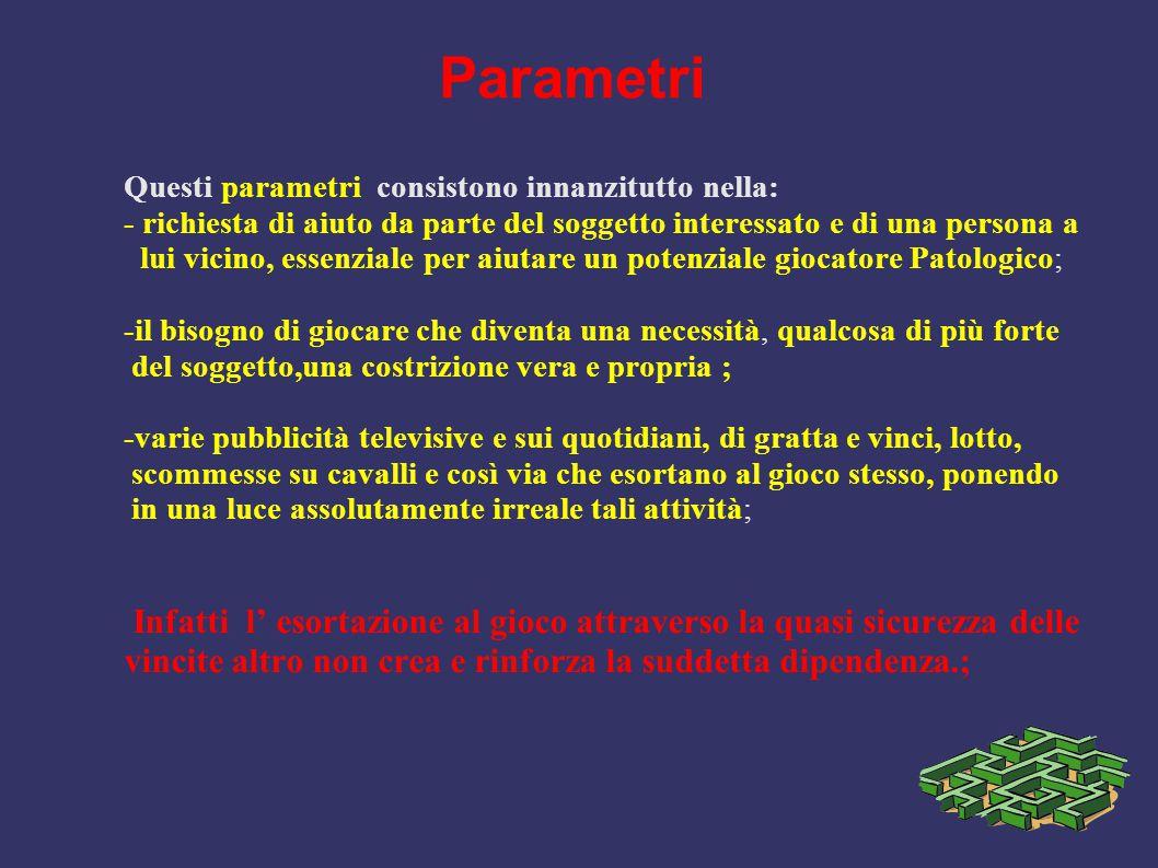 Parametri Questi parametri consistono innanzitutto nella: - richiesta di aiuto da parte del soggetto interessato e di una persona a.