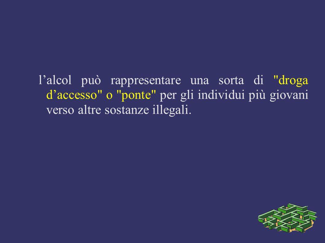 l'alcol può rappresentare una sorta di droga d'accesso o ponte per gli individui più giovani verso altre sostanze illegali.