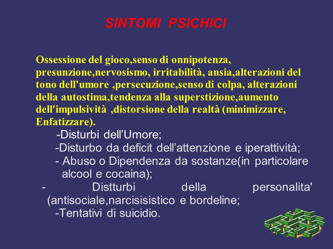 SINTOMI PSICHICI -Disturbi dell'Umore;
