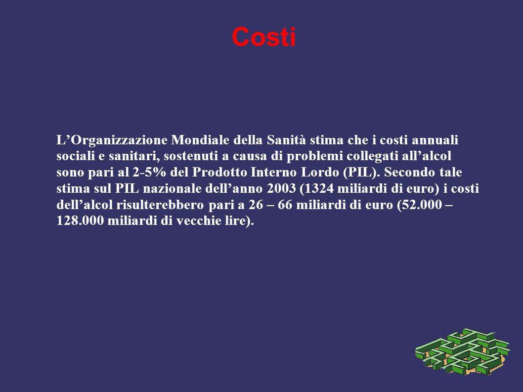 Costi L'Organizzazione Mondiale della Sanità stima che i costi annuali