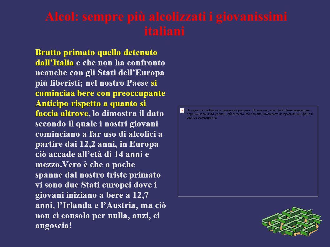 Alcol: sempre più alcolizzati i giovanissimi italiani