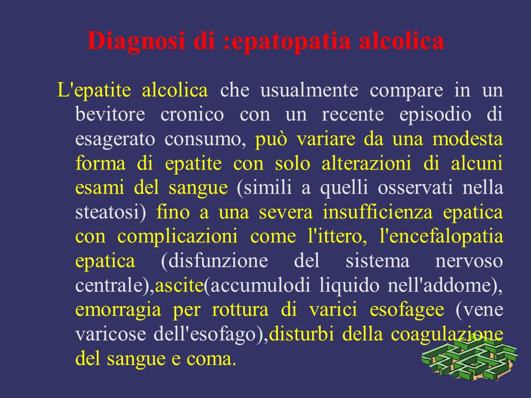 Diagnosi di :epatopatia alcolica