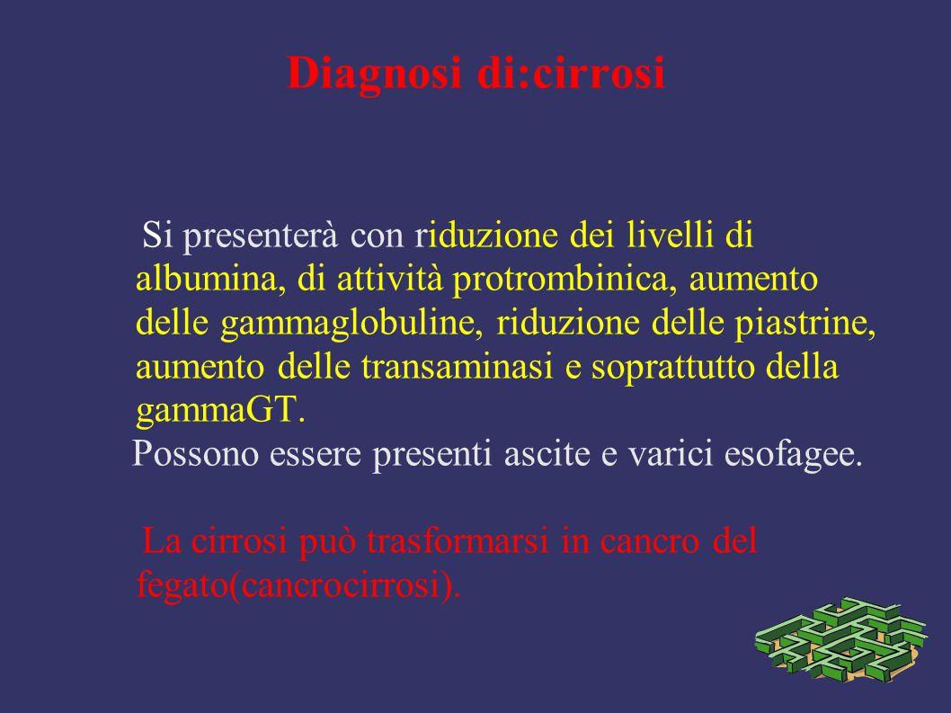Diagnosi di:cirrosi