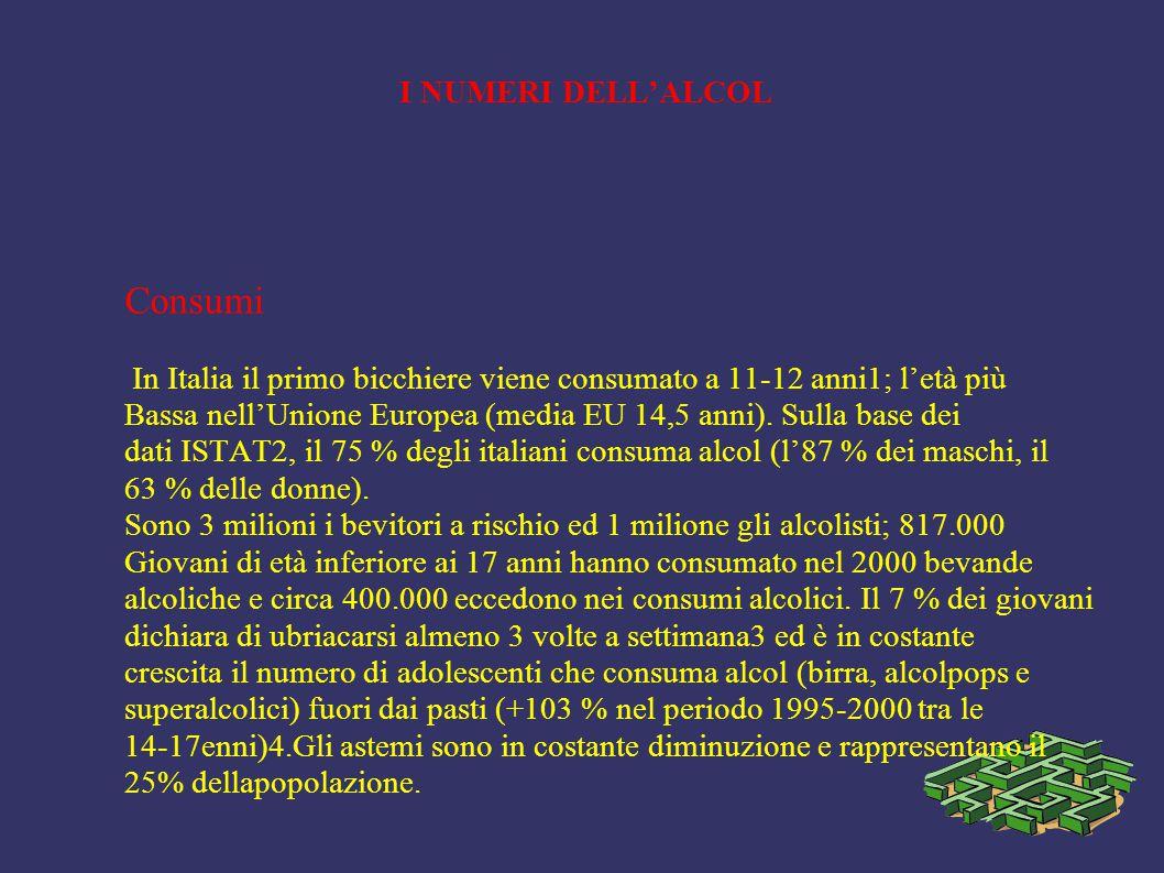 I NUMERI DELL'ALCOL Consumi