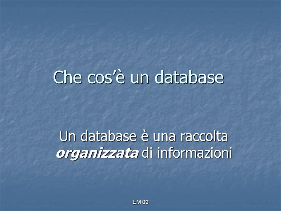 Un database è una raccolta organizzata di informazioni