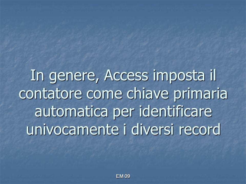 In genere, Access imposta il contatore come chiave primaria automatica per identificare univocamente i diversi record