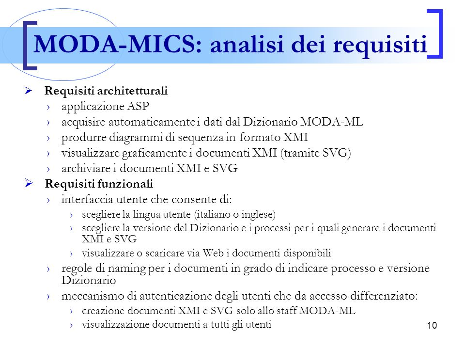 MODA-MICS: analisi dei requisiti