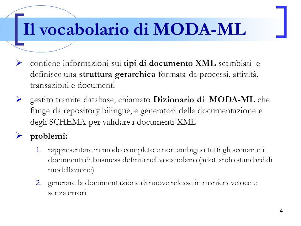 Il vocabolario di MODA-ML
