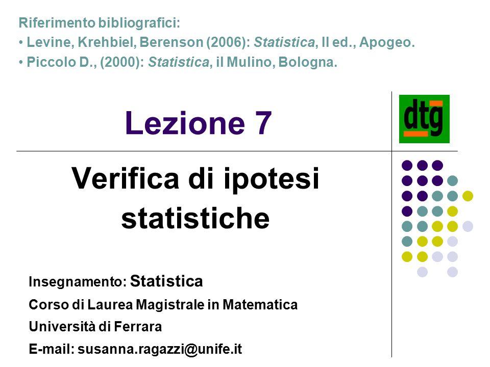 Verifica di ipotesi statistiche