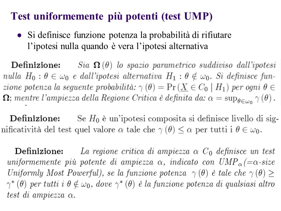 Test uniformemente più potenti (test UMP)