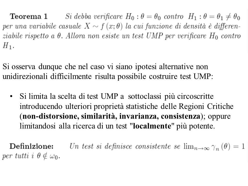 Si osserva dunque che nel caso vi siano ipotesi alternative non unidirezionali difficilmente risulta possibile costruire test UMP: