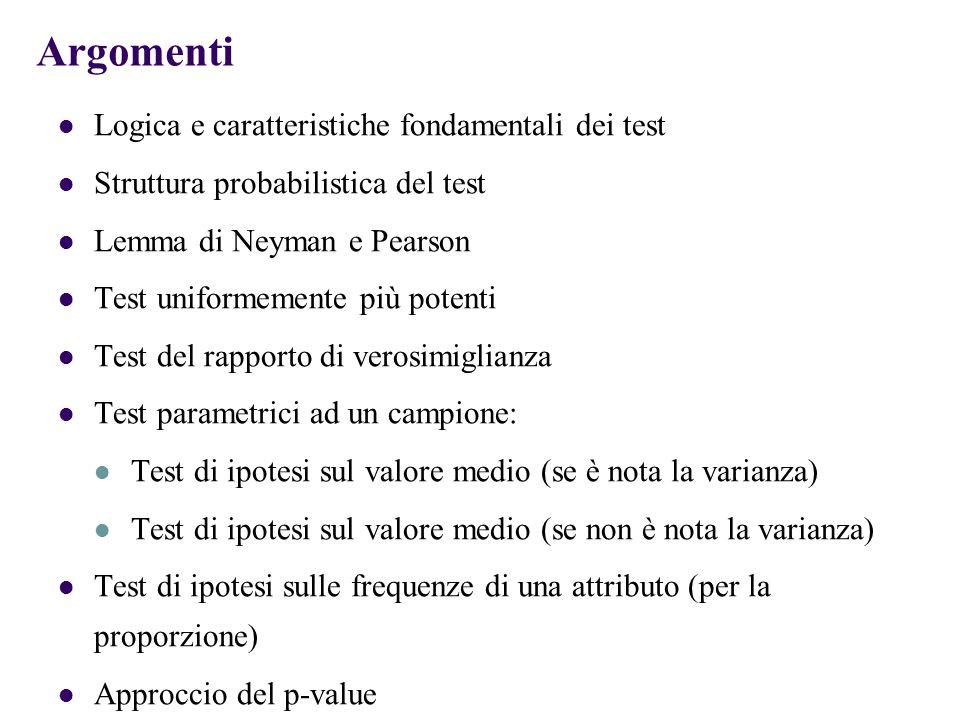 Argomenti Logica e caratteristiche fondamentali dei test