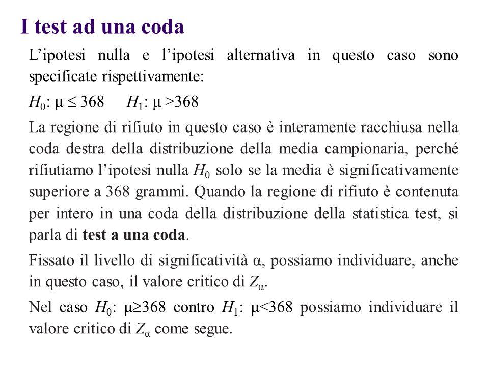 I test ad una coda L'ipotesi nulla e l'ipotesi alternativa in questo caso sono specificate rispettivamente: