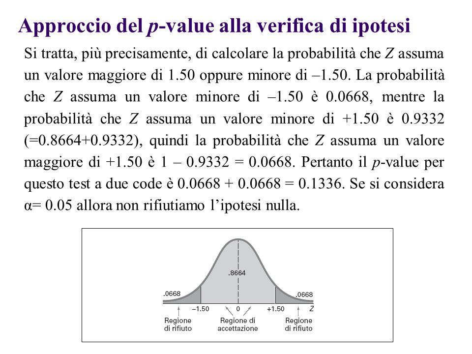 Approccio del p-value alla verifica di ipotesi