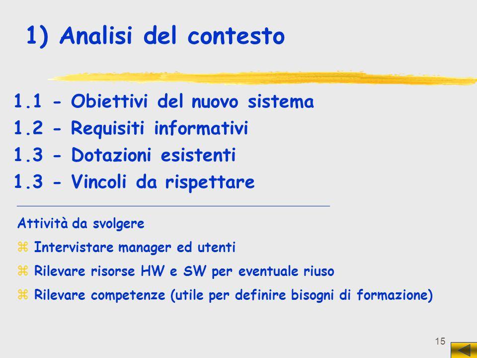 1) Analisi del contesto 1.1 - Obiettivi del nuovo sistema