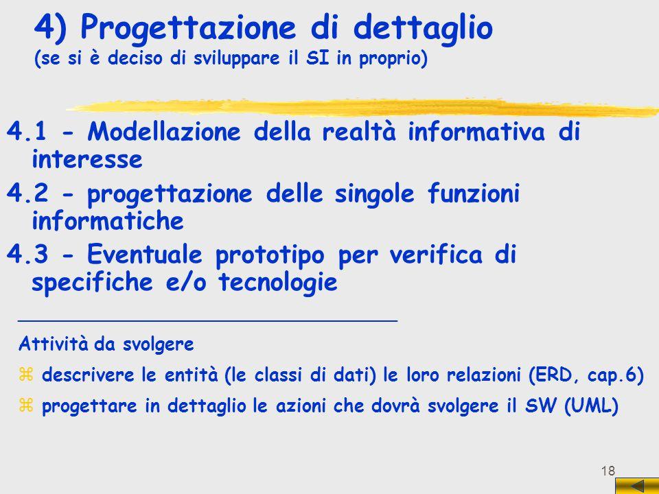 4) Progettazione di dettaglio (se si è deciso di sviluppare il SI in proprio)