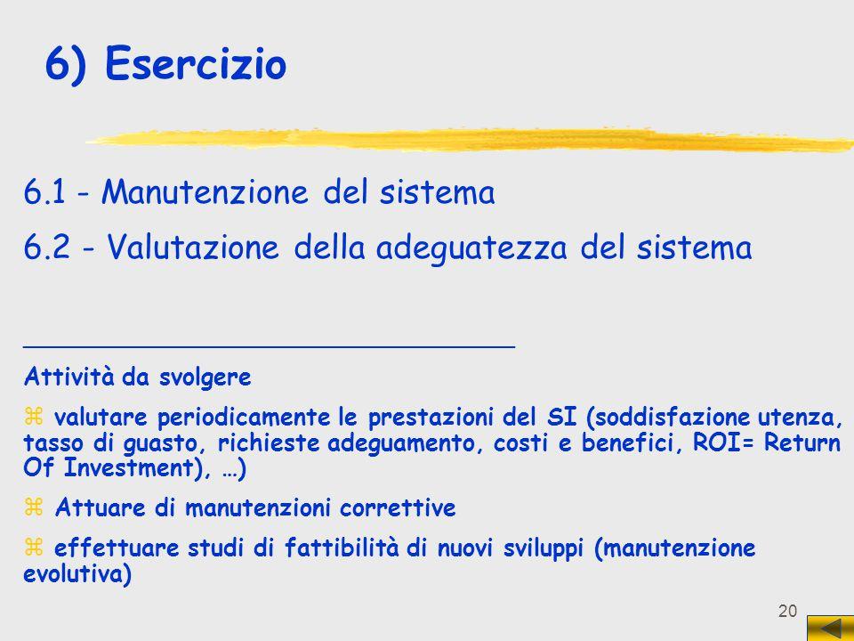 6) Esercizio 6.1 - Manutenzione del sistema