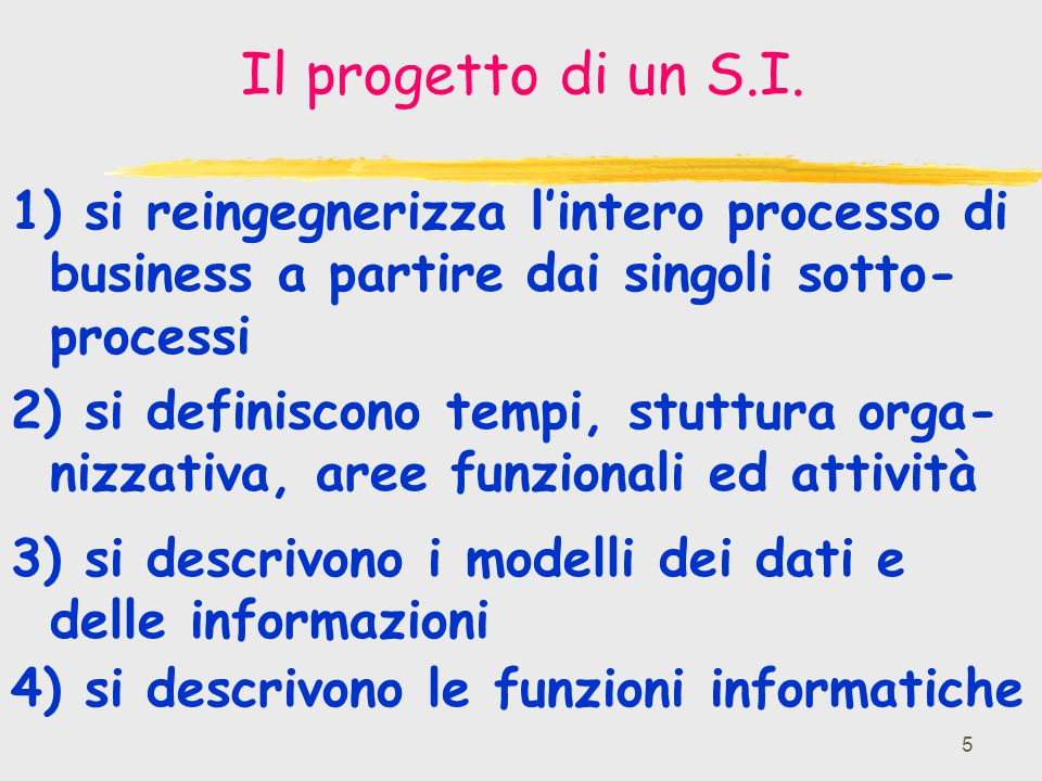 Il progetto di un S.I. 1) si reingegnerizza l'intero processo di business a partire dai singoli sotto-processi.