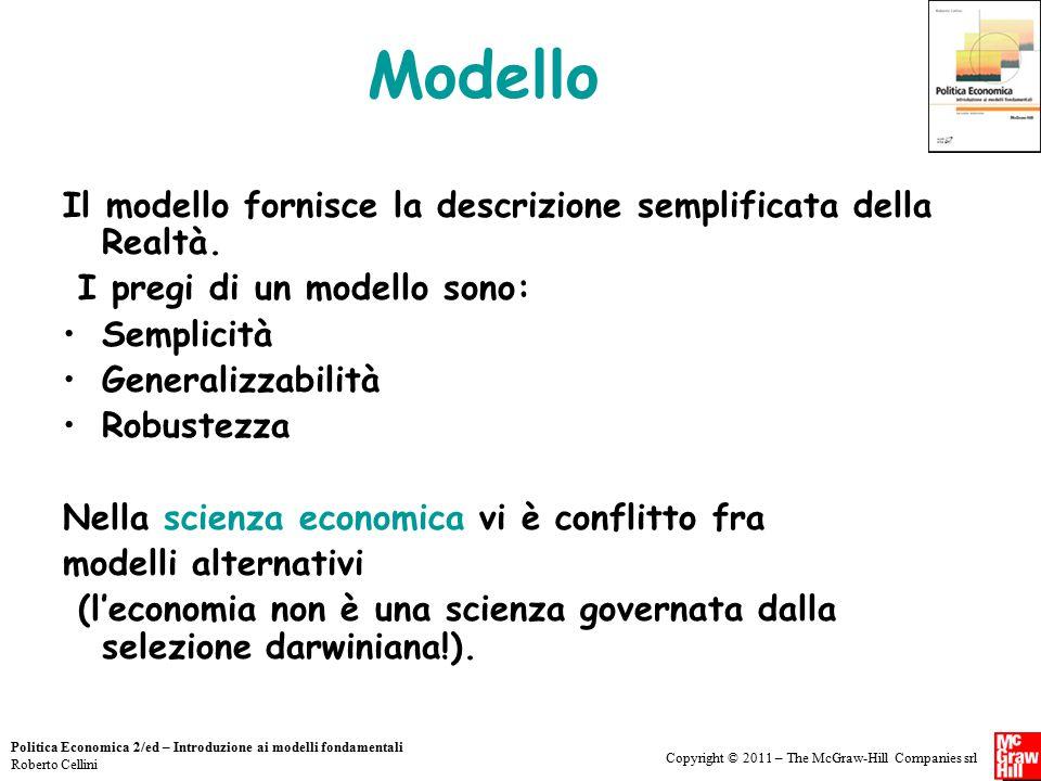 Modello Il modello fornisce la descrizione semplificata della Realtà.