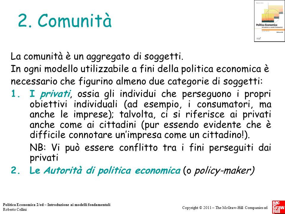 2. Comunità La comunità è un aggregato di soggetti.