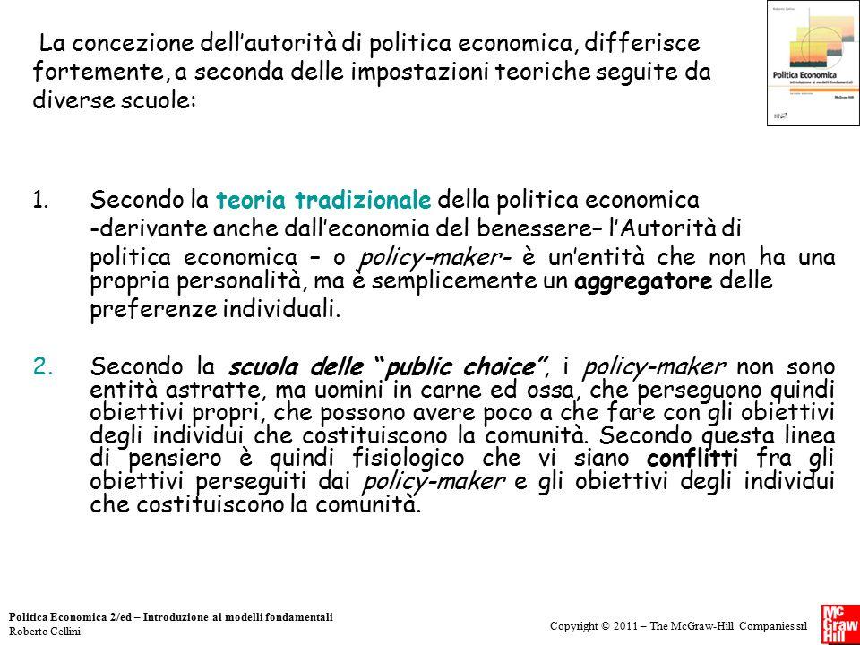 La concezione dell'autorità di politica economica, differisce fortemente, a seconda delle impostazioni teoriche seguite da diverse scuole:
