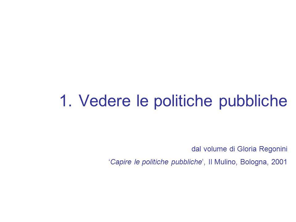 Vedere le politiche pubbliche dal volume di Gloria Regonini 'Capire le politiche pubbliche', Il Mulino, Bologna, 2001