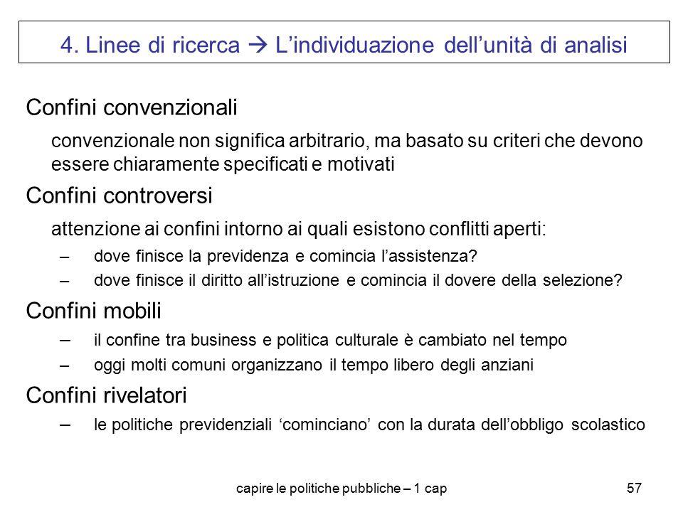 4. Linee di ricerca  L'individuazione dell'unità di analisi