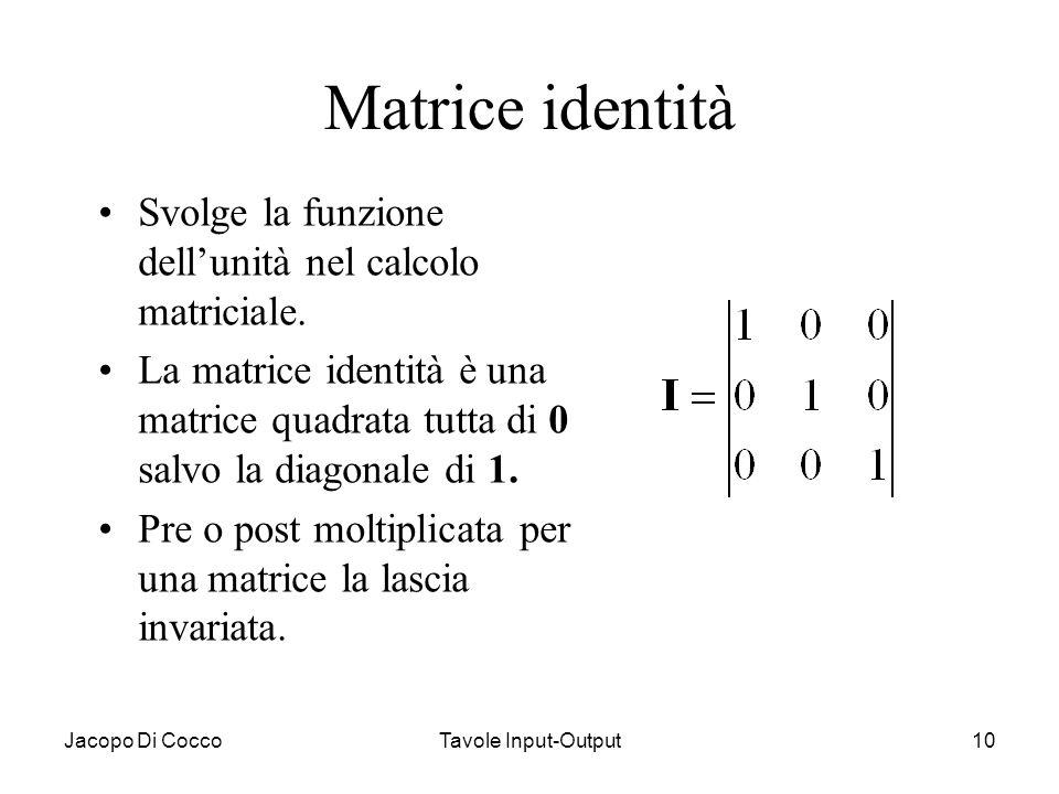 Matrice identità Svolge la funzione dell'unità nel calcolo matriciale.