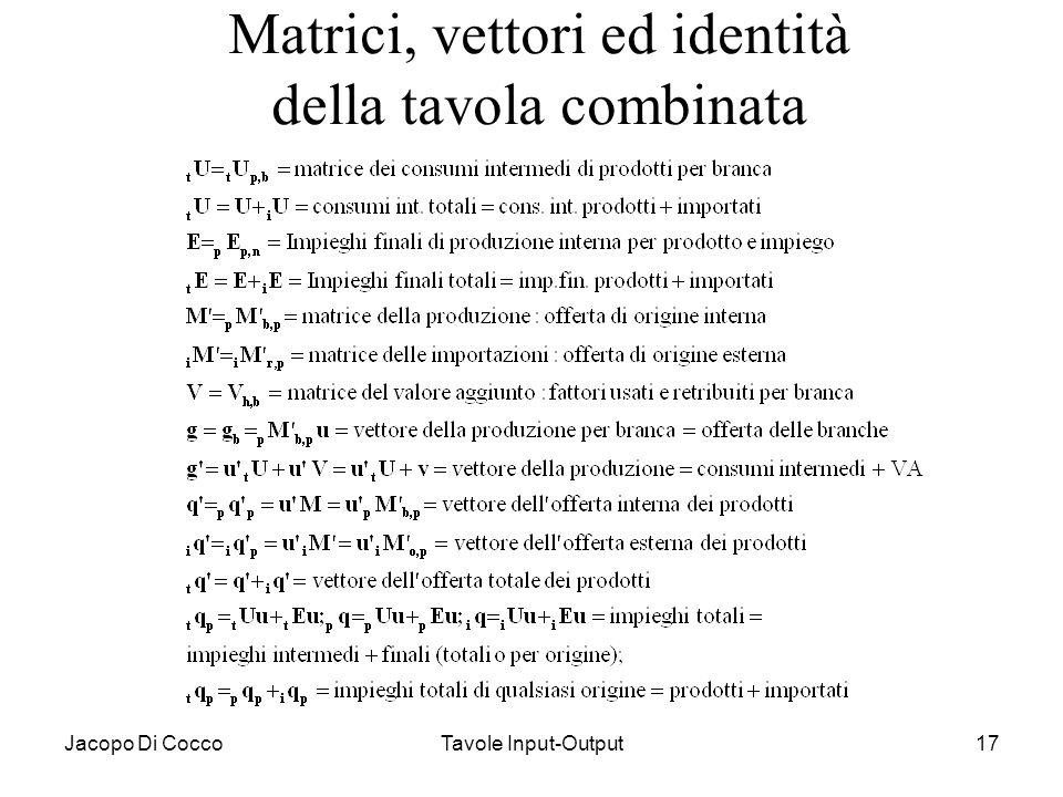 Matrici, vettori ed identità della tavola combinata