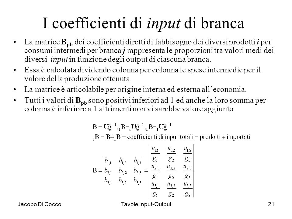 I coefficienti di input di branca