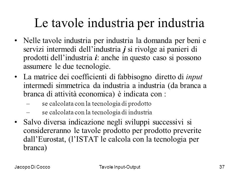 Le tavole industria per industria
