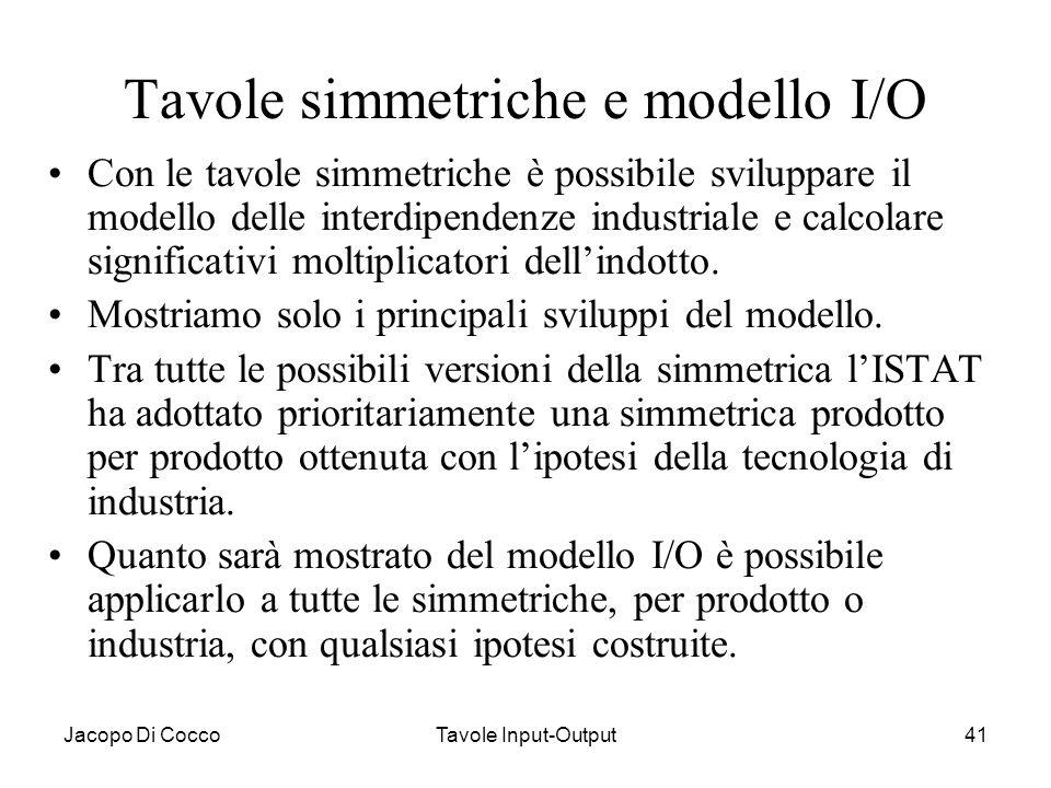 Tavole simmetriche e modello I/O
