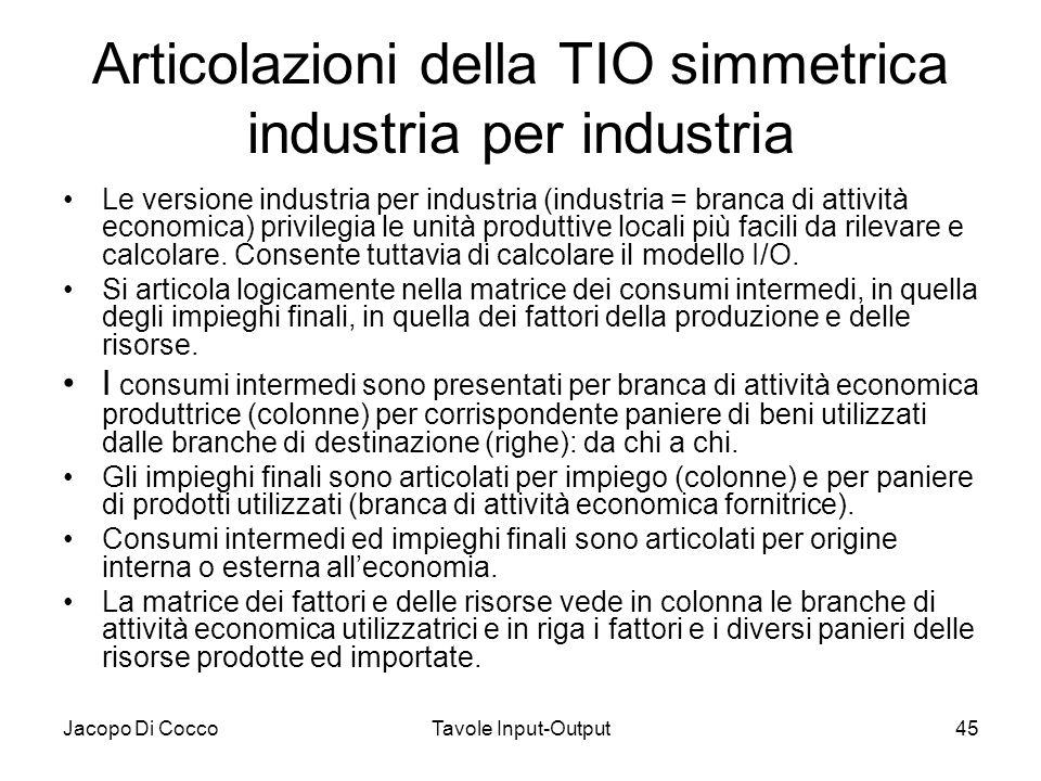 Articolazioni della TIO simmetrica industria per industria