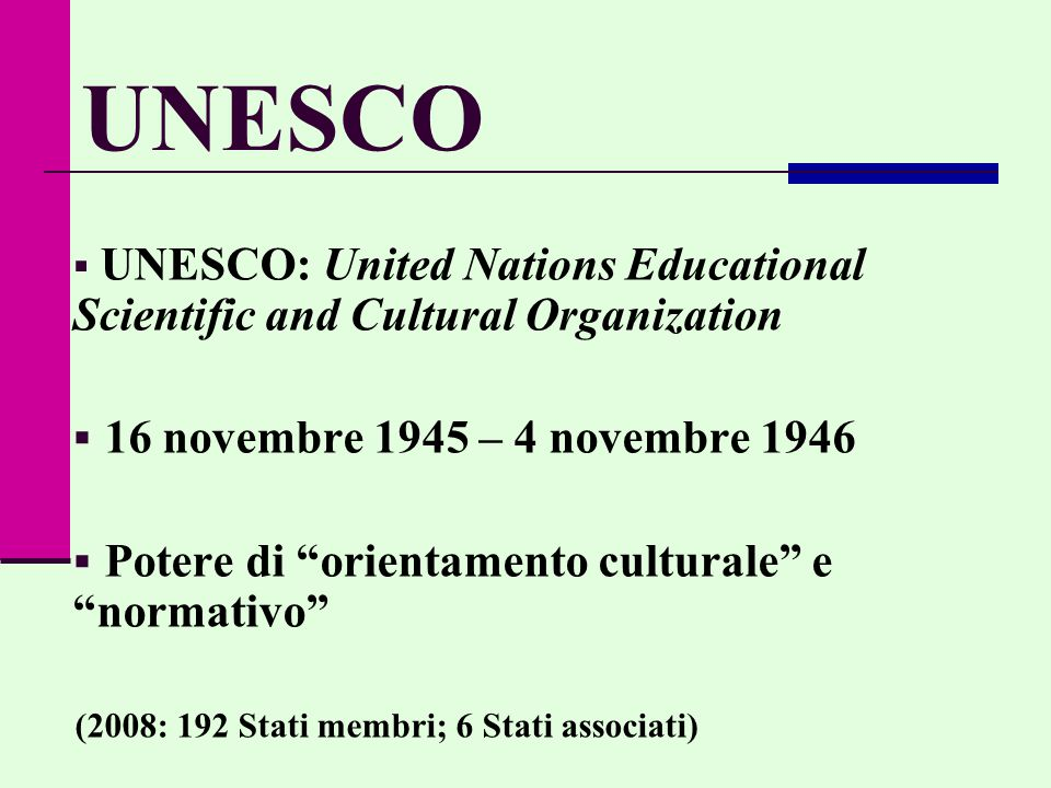 UNESCO 16 novembre 1945 – 4 novembre 1946