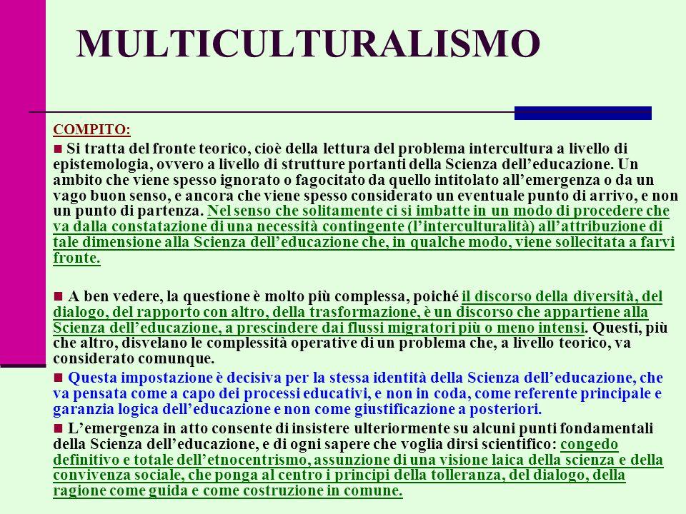 MULTICULTURALISMO COMPITO: