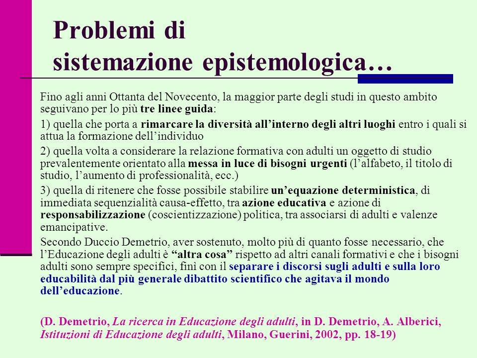 Problemi di sistemazione epistemologica…