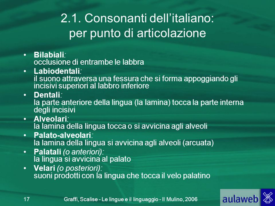 2.1. Consonanti dell'italiano: per punto di articolazione