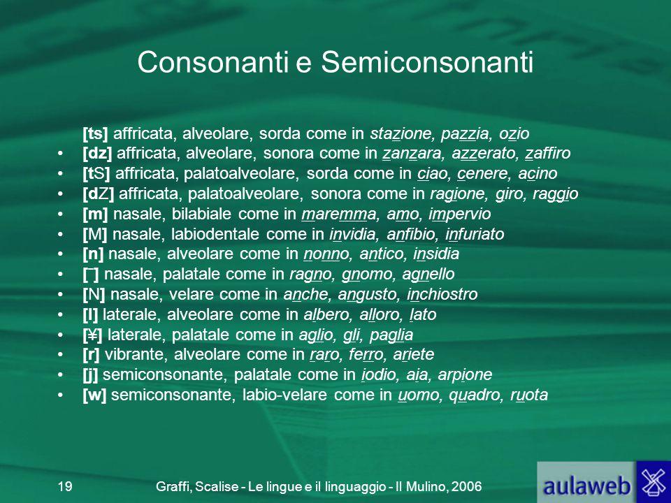 Consonanti e Semiconsonanti