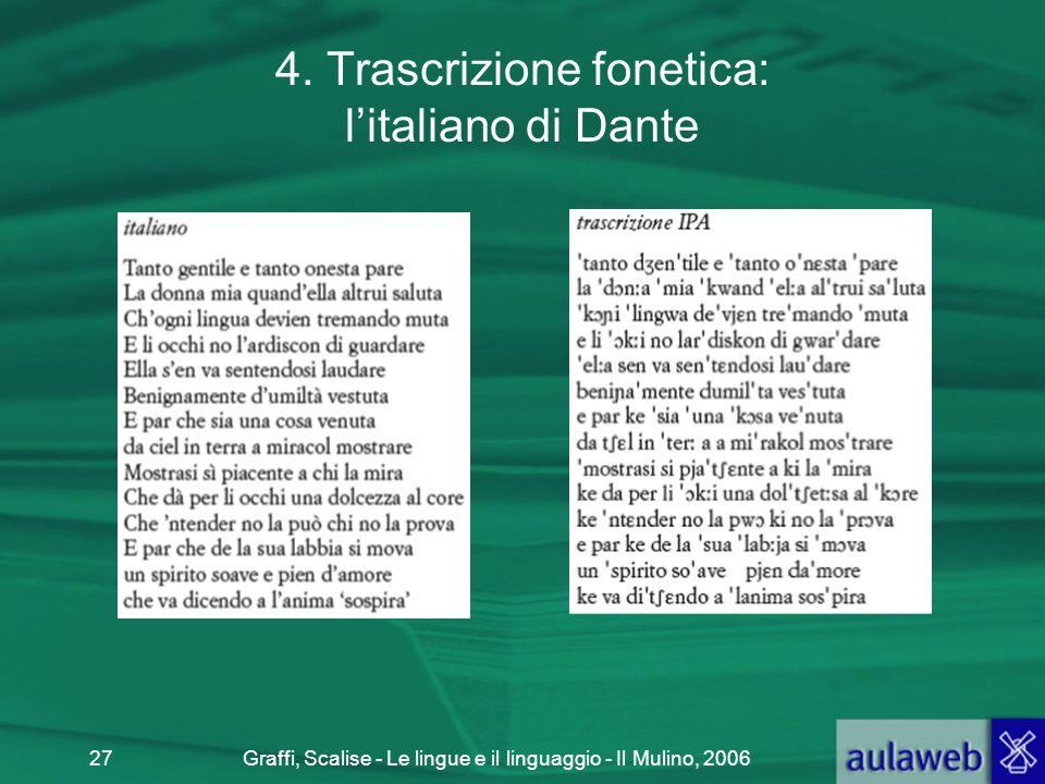 4. Trascrizione fonetica: l'italiano di Dante