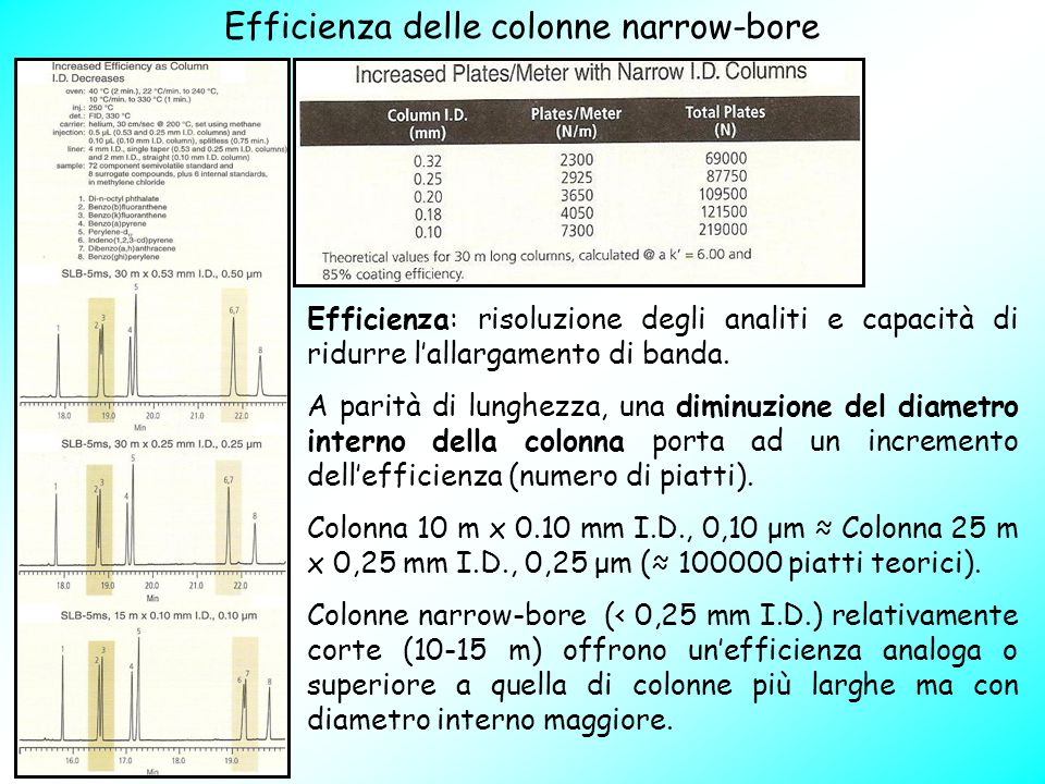 Efficienza delle colonne narrow-bore