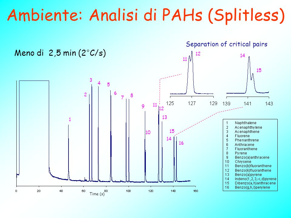 Ambiente: Analisi di PAHs (Splitless)