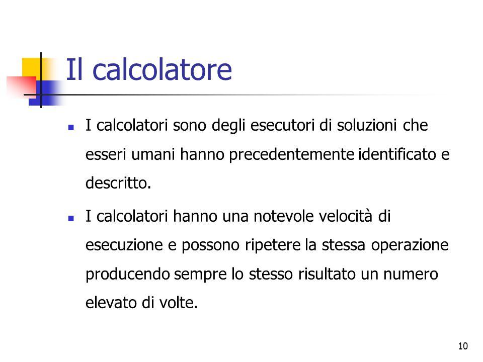 Il calcolatore I calcolatori sono degli esecutori di soluzioni che esseri umani hanno precedentemente identificato e descritto.